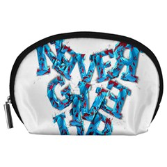 Sport Crossfit Fitness Gym Never Give Up Accessory Pouches (large)  by Nexatart