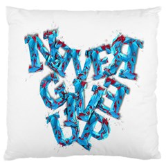 Sport Crossfit Fitness Gym Never Give Up Large Flano Cushion Case (one Side) by Nexatart