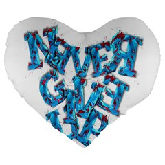 Sport Crossfit Fitness Gym Never Give Up Large 19  Premium Flano Heart Shape Cushions by Nexatart