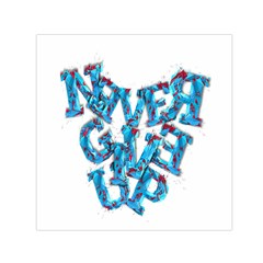 Sport Crossfit Fitness Gym Never Give Up Small Satin Scarf (square) by Nexatart