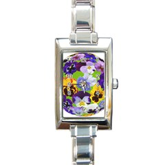 Spring Pansy Blossom Bloom Plant Rectangle Italian Charm Watch