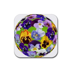 Spring Pansy Blossom Bloom Plant Rubber Square Coaster (4 Pack)