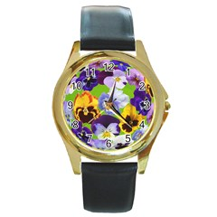 Spring Pansy Blossom Bloom Plant Round Gold Metal Watch