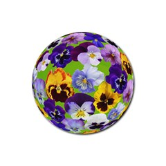 Spring Pansy Blossom Bloom Plant Rubber Round Coaster (4 Pack)