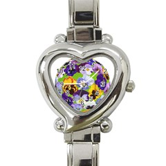 Spring Pansy Blossom Bloom Plant Heart Italian Charm Watch by Nexatart
