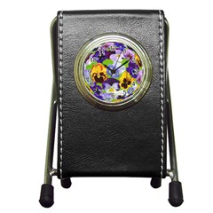 Spring Pansy Blossom Bloom Plant Pen Holder Desk Clocks