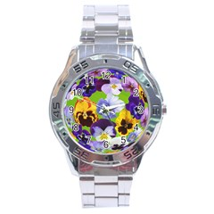 Spring Pansy Blossom Bloom Plant Stainless Steel Analogue Watch by Nexatart
