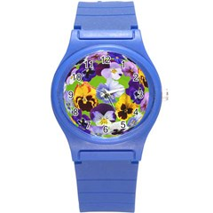 Spring Pansy Blossom Bloom Plant Round Plastic Sport Watch (s)
