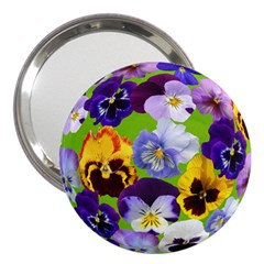 Spring Pansy Blossom Bloom Plant 3  Handbag Mirrors by Nexatart