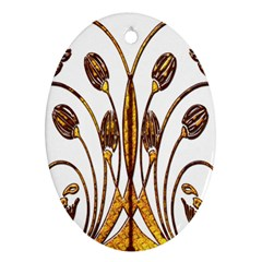 Scroll Gold Floral Design Ornament (oval)