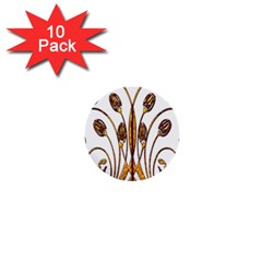 Scroll Gold Floral Design 1  Mini Buttons (10 Pack)