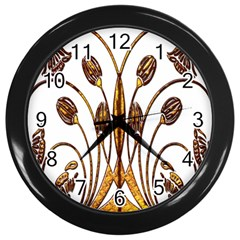 Scroll Gold Floral Design Wall Clocks (black) by Nexatart