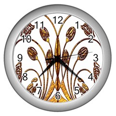 Scroll Gold Floral Design Wall Clocks (silver)