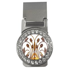Scroll Gold Floral Design Money Clips (cz)  by Nexatart