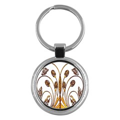 Scroll Gold Floral Design Key Chains (round)