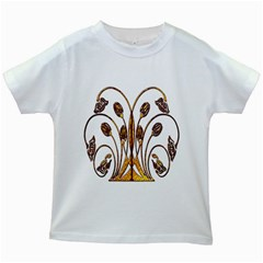 Scroll Gold Floral Design Kids White T Shirts by Nexatart