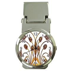 Scroll Gold Floral Design Money Clip Watches by Nexatart