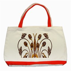 Scroll Gold Floral Design Classic Tote Bag (red)