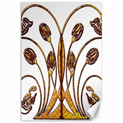 Scroll Gold Floral Design Canvas 12  X 18