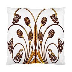 Scroll Gold Floral Design Standard Cushion Case (two Sides) by Nexatart