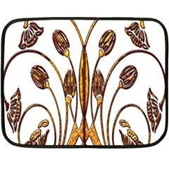 Scroll Gold Floral Design Double Sided Fleece Blanket (mini)