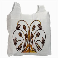 Scroll Gold Floral Design Recycle Bag (one Side) by Nexatart