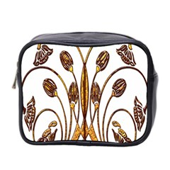 Scroll Gold Floral Design Mini Toiletries Bag 2 Side