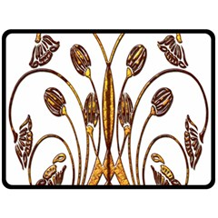 Scroll Gold Floral Design Fleece Blanket (large)