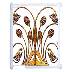 Scroll Gold Floral Design Apple Ipad 2 Case (white) by Nexatart