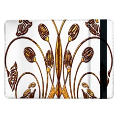 Scroll Gold Floral Design Samsung Galaxy Tab Pro 12 2  Flip Case by Nexatart