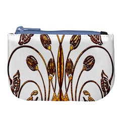 Scroll Gold Floral Design Large Coin Purse by Nexatart