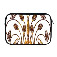 Scroll Gold Floral Design Apple Macbook Pro 17  Zipper Case