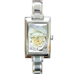 Flower White Rose Lying Rectangle Italian Charm Watch by Nexatart