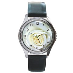 Flower White Rose Lying Round Metal Watch by Nexatart