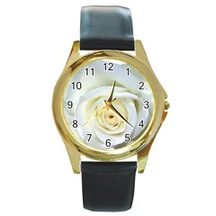 Flower White Rose Lying Round Gold Metal Watch by Nexatart