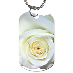 Flower White Rose Lying Dog Tag (one Side) by Nexatart