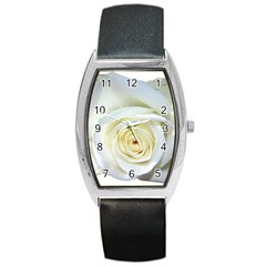 Flower White Rose Lying Barrel Style Metal Watch by Nexatart