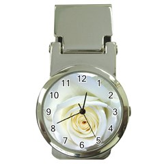 Flower White Rose Lying Money Clip Watches by Nexatart