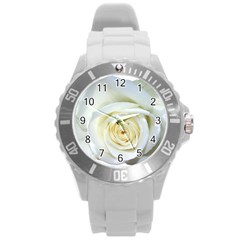 Flower White Rose Lying Round Plastic Sport Watch (l) by Nexatart
