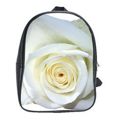 Flower White Rose Lying School Bags (xl)  by Nexatart