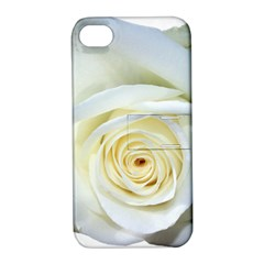 Flower White Rose Lying Apple Iphone 4/4s Hardshell Case With Stand by Nexatart