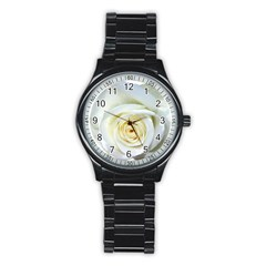 Flower White Rose Lying Stainless Steel Round Watch by Nexatart