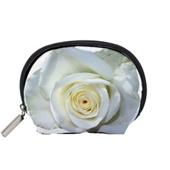 Flower White Rose Lying Accessory Pouches (small)  by Nexatart