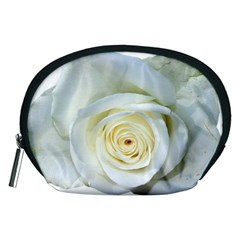 Flower White Rose Lying Accessory Pouches (medium)  by Nexatart