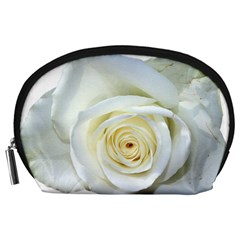 Flower White Rose Lying Accessory Pouches (large)  by Nexatart