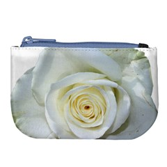Flower White Rose Lying Large Coin Purse by Nexatart