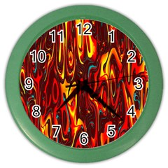 Effect Pattern Brush Red Orange Color Wall Clocks by Nexatart