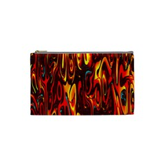 Effect Pattern Brush Red Orange Cosmetic Bag (small)