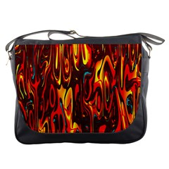 Effect Pattern Brush Red Orange Messenger Bags