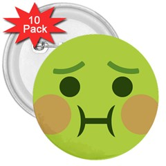 Barf 3  Buttons (10 Pack)  by BestEmojis